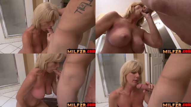 Big Tit Blonde MILF Sucks Son's Big Cock